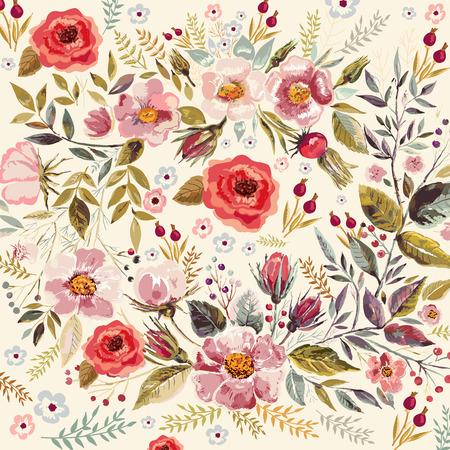 romantyczny: Wyciągnąć rękę kwiatowy tło z pięknych romantycznych kwiatów i liści
