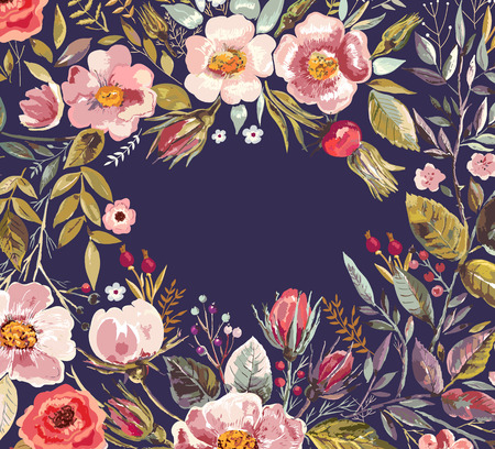 Vintage background with hand drawn floral wreath  イラスト・ベクター素材