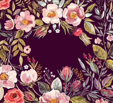 Vintage background avec la main tiré couronne de fleurs Banque d'images - 36399571
