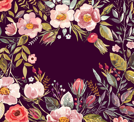 Vintage background with hand drawn floral wreath Vettoriali