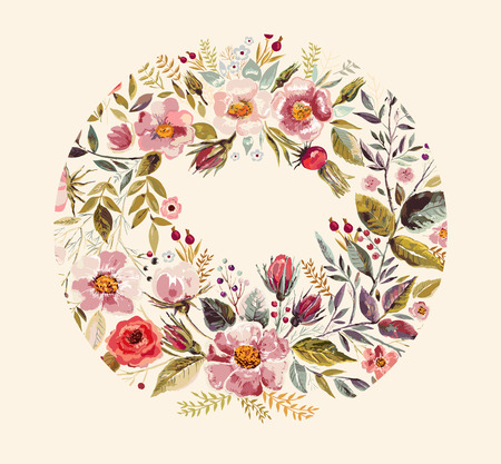 Vintage background with hand drawn floral wreath Stock Illustratie