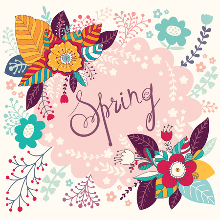 Decorative spring floral greeting card