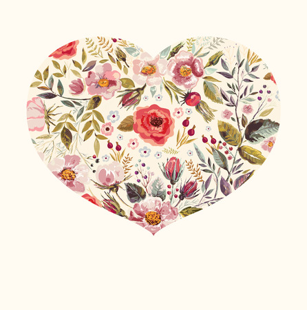 Spring floral greeting card with heart Vettoriali