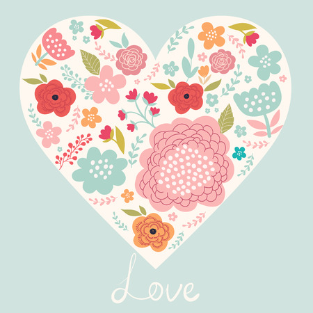 Spring floral greeting card with heart Vectores