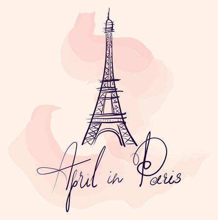 Vector hand drawn illustration with Eiffel tower 向量圖像