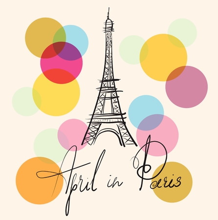 Vector hand drawn illustration with Eiffel tower Stock Illustratie