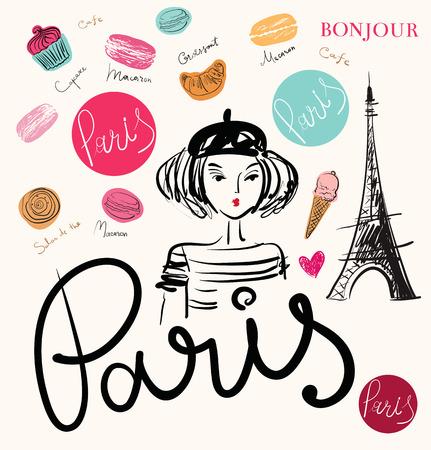 Vector hand drawn illustration with Paris symbols
