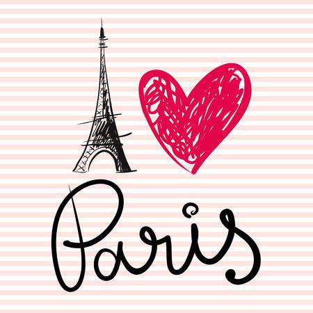 frances: Ilustración drenada mano del vector con la torre Eiffel Vectores