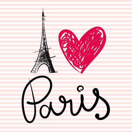 paris: Vector hand drawn illustration with Eiffel tower Illustration