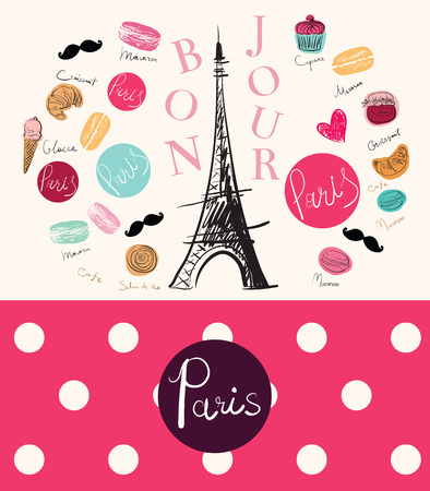 bonjour: Vector hand drawn illustration with Paris symbol