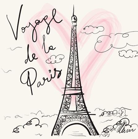 ●エッフェル塔付きのベクトル手描きイラスト。パリ。ボヤージュ・デ・ラ・パリ