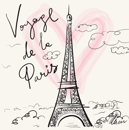 Vector hand drawn illustration with Eiffel tower. Paris. Voyage de la Paris Çizim