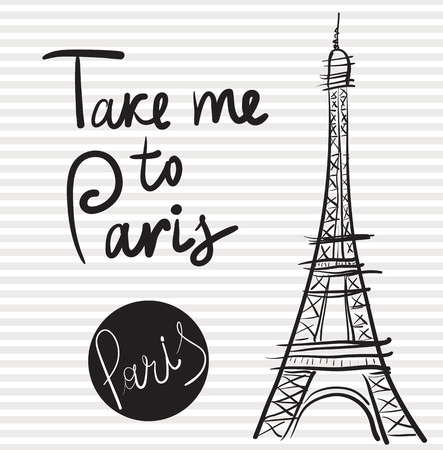 Vector hand drawn illustration with Eiffel tower Illustration