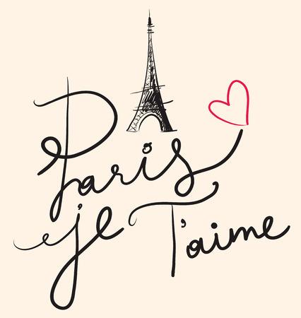Vector Hand gezeichnete Illustration mit Paris Symbolen. Paris je T \