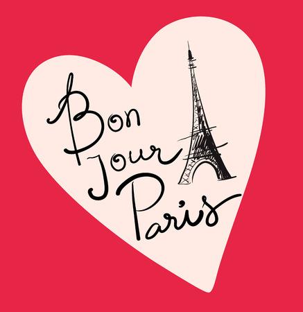 parisian: Vector hand drawn illustration with Paris symbol. Eiffel tower