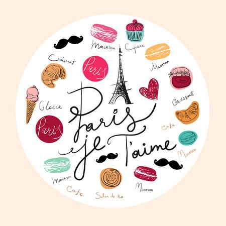 Vector hand drawn illustration with Paris symbols. Paris je T\\ Illustration