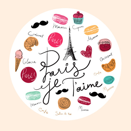 heart sketch: Vector hand drawn illustration with Paris symbols. Paris je T\\ Illustration