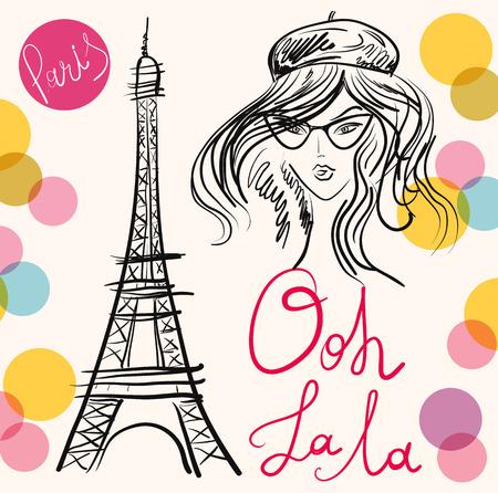 矢量手繪插圖與巴黎的象徵