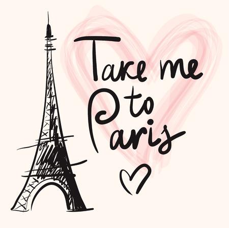 Vector hand drawn illustration with Eiffel tower Stock Illustratie