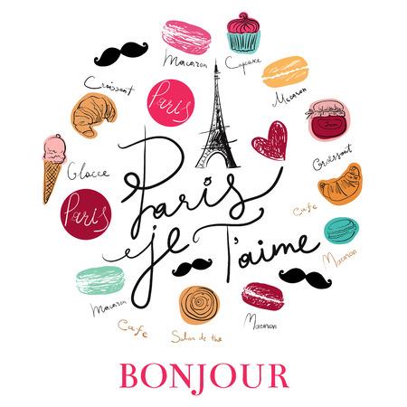 paris: Vector hand drawn illustration with Paris symbols. Paris je T\\ Illustration