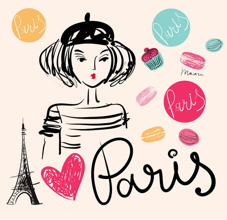 parisian: Vector hand drawn illustration with Paris symbol