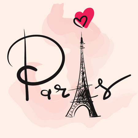 Vector hand drawn illustration with Eiffel tower Çizim