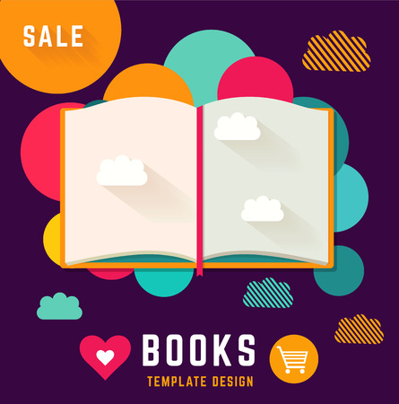 books library: Vector template with open book