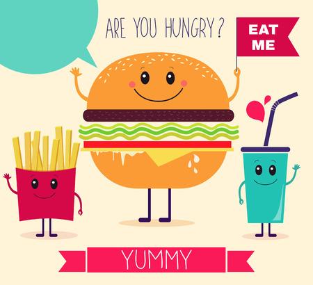 alimentos y bebidas: Ilustración del vector. Comida rápida