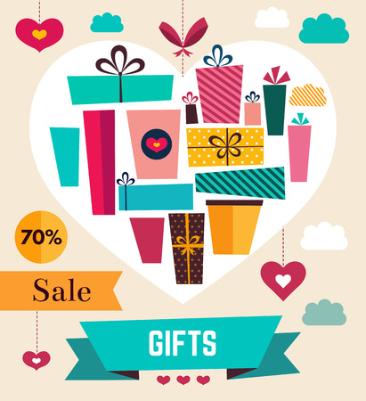 holiday gifts: Vector template with holiday gifts Illustration