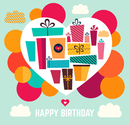 holiday gifts: Happy Birthday card. Vector template with holiday gifts