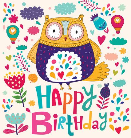 祝你生日快樂卡與貓頭鷹 向量圖像