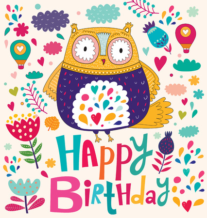 Happy Birthday card with owl Vettoriali
