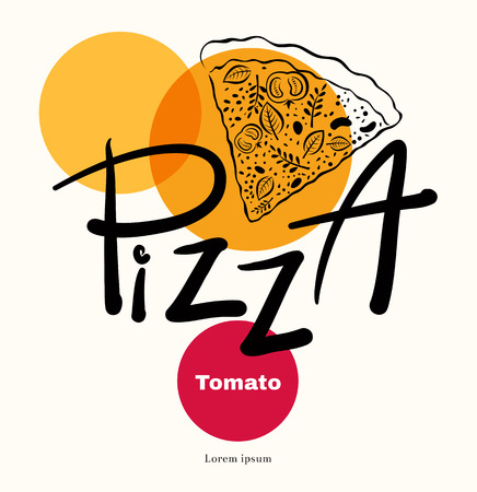 ピザ デザイン メニューやさまざまな要素とポスター  イラスト・ベクター素材