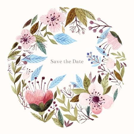 水彩花の背景。ホリデー カード、招待状。  イラスト・ベクター素材