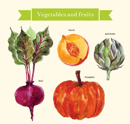 artichoke: Vector set vegetables and fruit