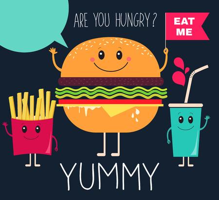 Vector illustration. Fast food