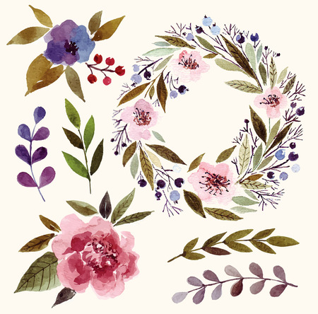 Watercolor floral elements: flowers, leaves, branches, wreath.