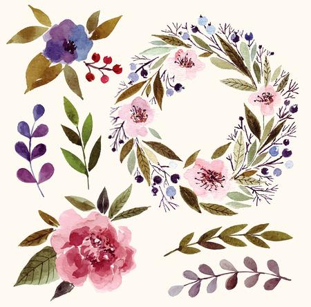 Aguarela elementos florais: flores, folhas, ramos, grinalda.