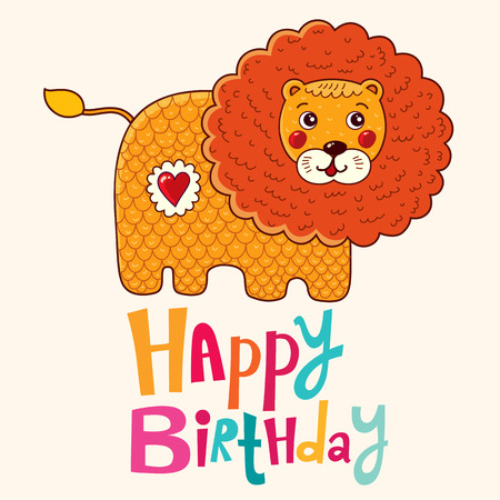 wallpaperrn: Happy Birthday card with lion