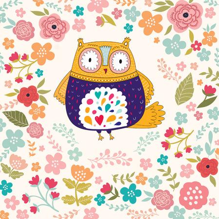 sowa: Ilustracji wektorowych z kwiatów i sowa