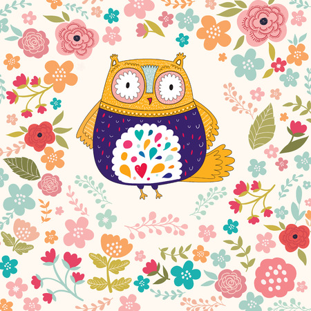Vector illustration with owl and flowers Zdjęcie Seryjne - 38617771