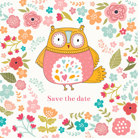 Vector illustration with owl and flowers Vector