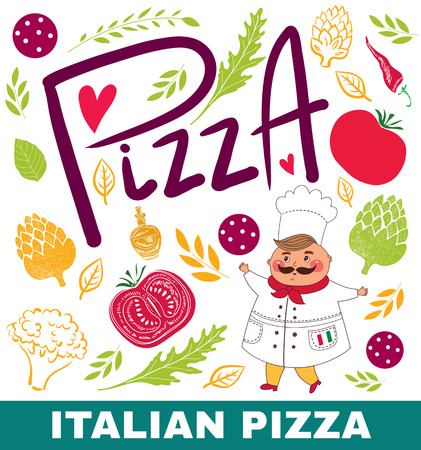 Pizza design menu or poster with different elements Vector