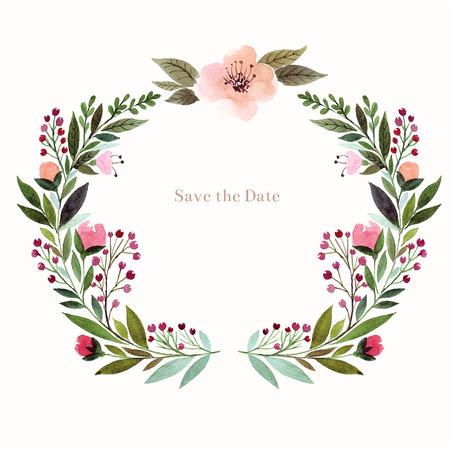 水彩花卉背景。節日賀卡,請柬。