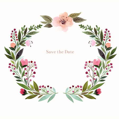 circle flower: Watercolor floral background. Holiday card, invitation.