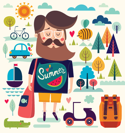 Vector background with summer symbols: hipster man sailboat bee motorbike trees crocodile. Cartoon pattern