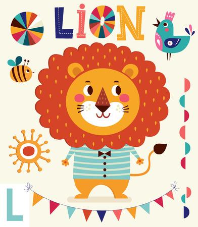 Personaje de dibujos animados divertido león. Serie del alfabeto para los niños. Ilustración letra L. vectorial. Tarjeta del bebé con el león niño Foto de archivo - 41444704