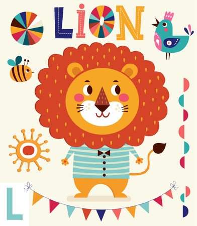 Cartoon character fun lion. Series Alphabet for children. Letter L. Vector illustration. Baby card with lion boy