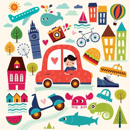 Illustration with summer symbols. Summer travel. Pattern with man car sailboat motorbike trees houses. Cartoon pattern Vettoriali