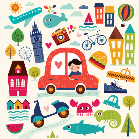niños en bicicleta: Ilustración con símbolos de verano. Los viajes de verano. Modelo con los árboles moto velero hombre coche casas. Patrón de la historieta